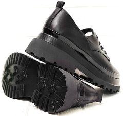 Кожаные женские туфли на платформе черные Marani magli M-237-06-18 Black.