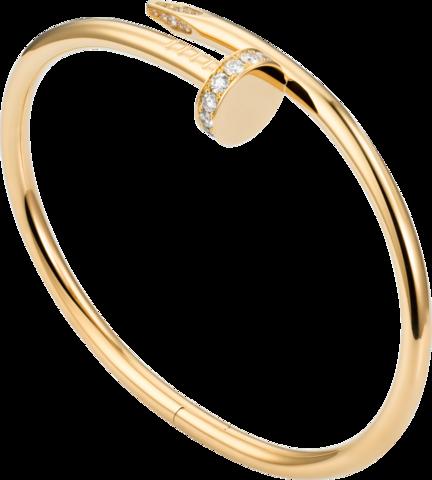 161311- Браслет гвоздь из стали с фианитами, цвет желтое золото