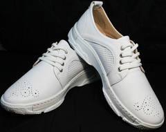 Повседневные женские кроссовки туфли кожаные женские с перфорацией Derem 18-104-04 All White