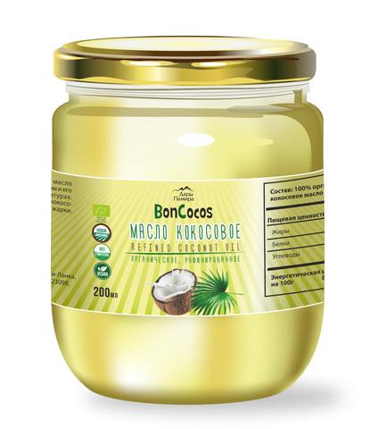 Масло кокосовое для жарки, рафинированное BONCOCOS, органическое, 200 мл