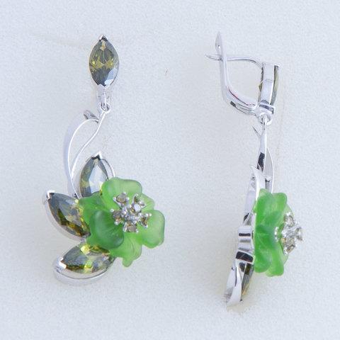 Серьги с цветами из зеленого кварца и вставками из фианита Арт.2253зз