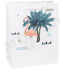 Пакет подарочный с матовой ламинацией 18x23x10 см (M) Фламинго в тропиках.