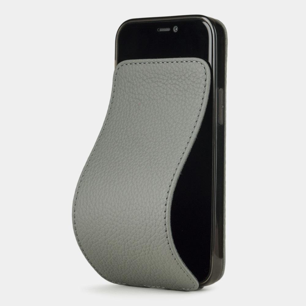 Чехол для iPhone 12 Mini из натуральной кожи теленка, стального цвета
