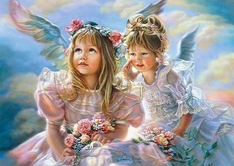 Алмазная Мозаика 30x40 Ангелы с цветами
