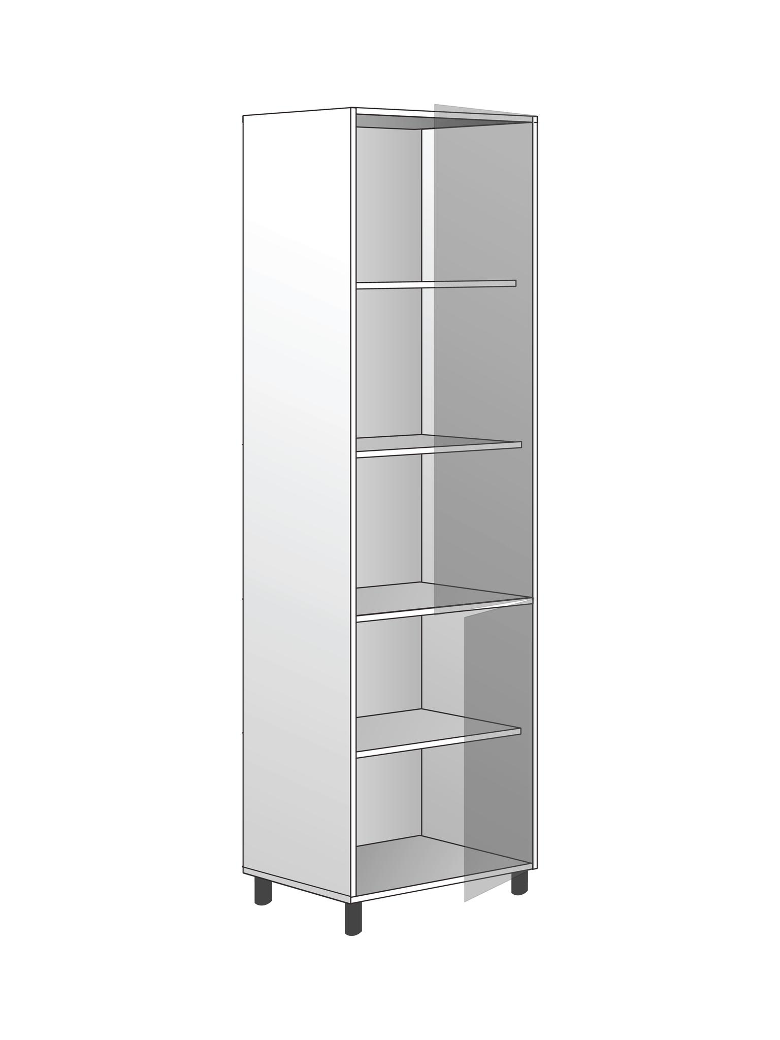 Напольный шкаф для хранения с 4 полками, 2040Х600 мм