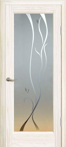 Дверь Новая волна Р стекло белое (ясень белый жемчуг, остекленная шпонированная), фабрика Океан