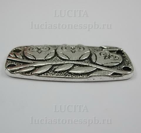 """Коннектор """"Три совы"""" (2-2) 37х20 мм (цвет - античное серебро)"""