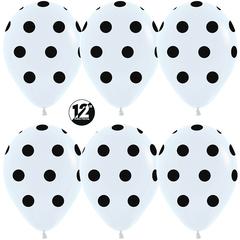 S 12'' Черные точки, Белый (005), пастель, 5 ст, 12 шт.
