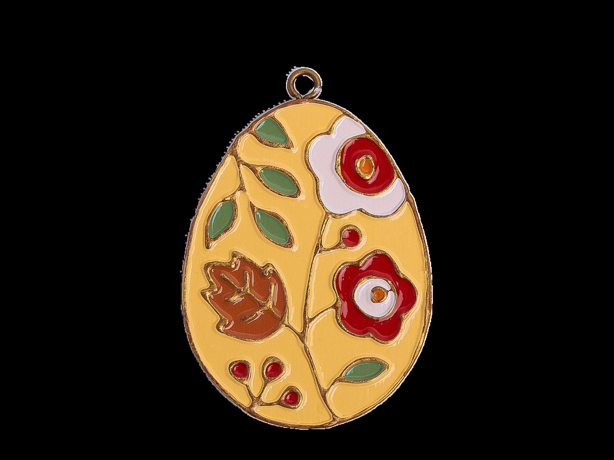 Пасхальное украшение Яйцо с Цветами, цвет: светло-желтый