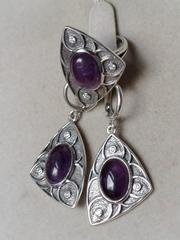 Гардиш (кольцо + серьги из серебра)