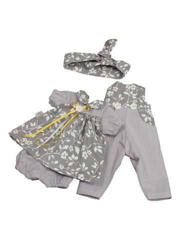 Комбинезон и платье - Серый. Одежда для кукол, пупсов и мягких игрушек.