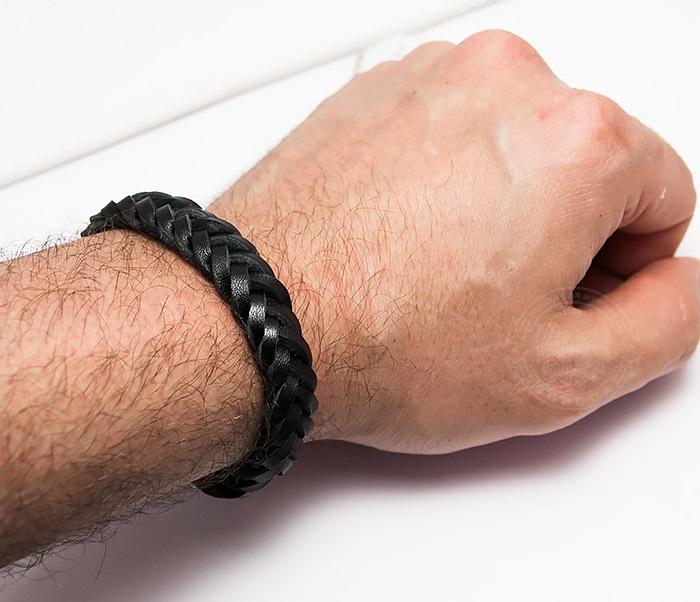 BM451-1 Плетеный браслет из натуральной кожи черного цвета (19 см) фото 05
