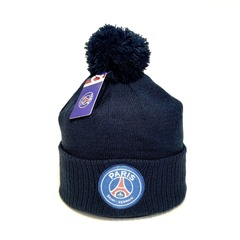 Вязаная шапка с помпоном и логотипом ФК Пари Сен-Жермен (Paris Saint-Germain) темно-синяя