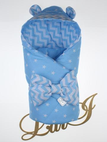 Демисезонный конверт  одеяло на выписку из роддома Микки (голубой\волна)