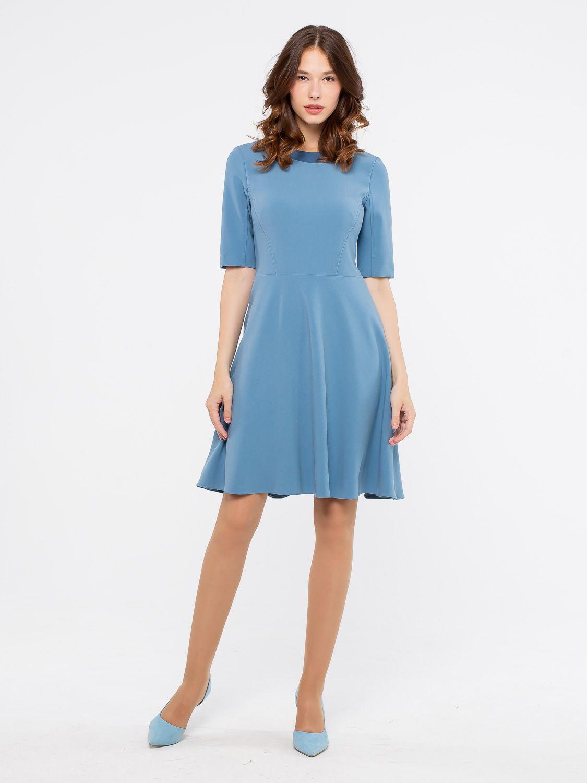 Платье З131-518 - Платье приталенного силуэта с расклешенной юбкой. Втачной рукав до локтя и контрастная окантовка горловины.  Плотная, пластичная ткань отлично садится на фигуру не сковывая движений. В этом платье вы будете чувствовать себя уверенно как в офисе , так и в повседневном образе. Пояс в комплект не входит.