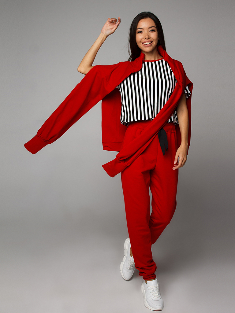 Футболка в полоску с красной горловиной YOS от украинского бренда Your Own Style