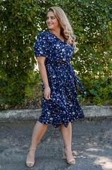 Вера. Нарядное платье plus size. Цветы на синем.