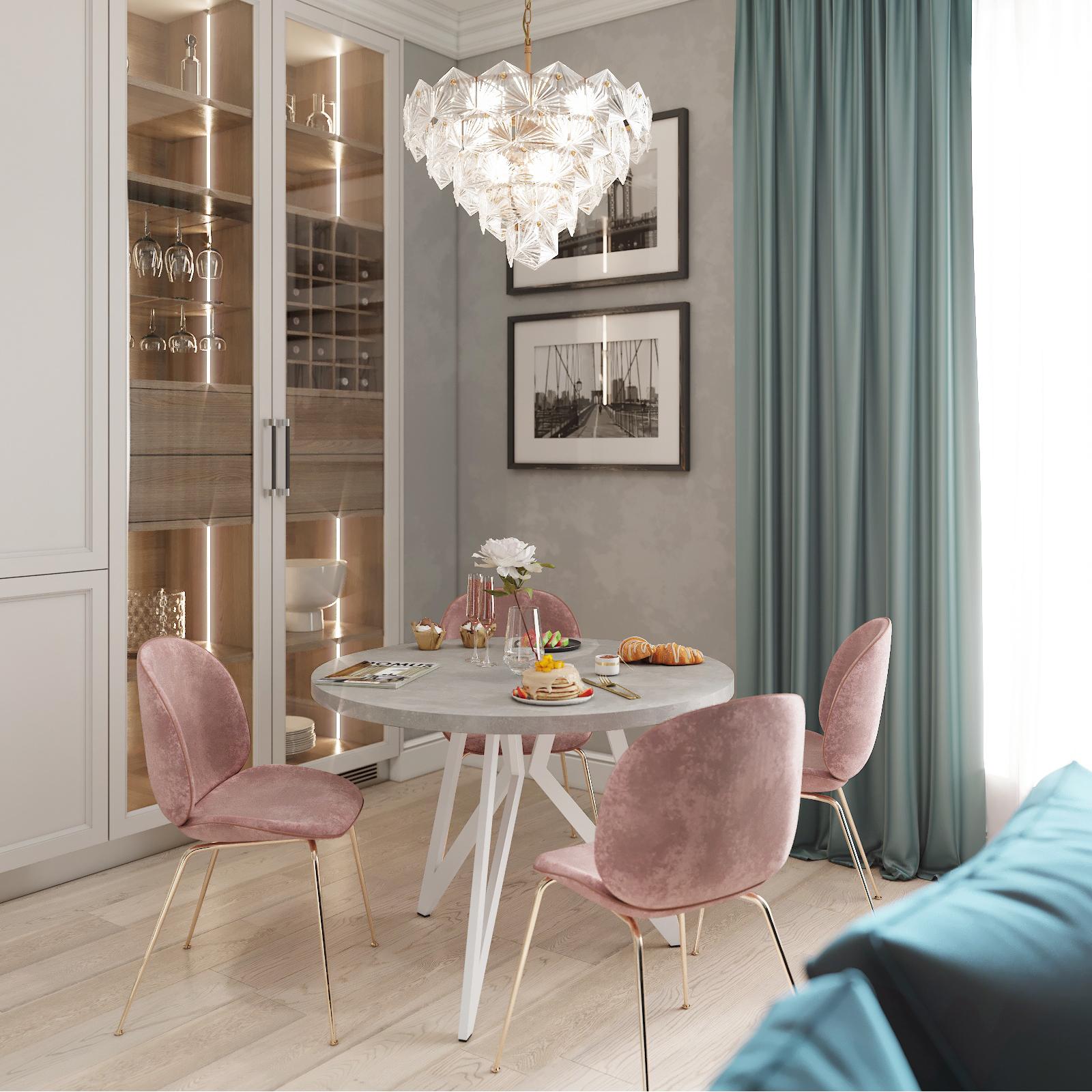 Обеденный стол ДОМУС Оригами-1 бетон серый/металл белый