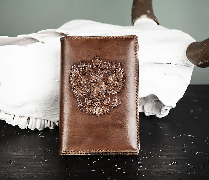 BC213-2 Кожаный ежедневник с гербом России (A6)