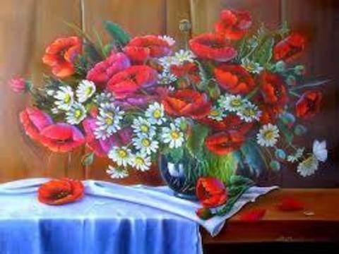 Картина раскраска по номерам 50x65 Букет из маков и ромашек в вазе
