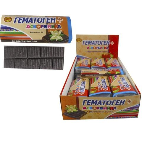 Гематоген+аскорбинка со вкусом ванили  1кор*12бл*21шт,30 гр.