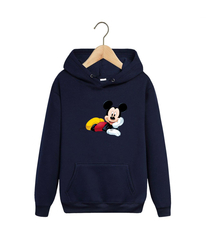 Толстовка темно-синяя с капюшоном (худи, кенгуру) и принтом Микки Маус (Mickey Mouse) 001