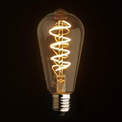 Светодиодная ретро лампа Эдисон ST64 LED Spiral 5W E27