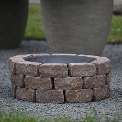 Чаша для костра Concretika iron P60 на основании из состаренного бетона 3 уровня кладки