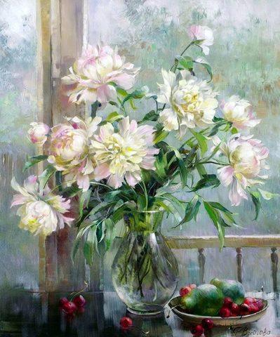 Картина раскраска по номерам 50x65 Натюрморт с грушами и вишнями