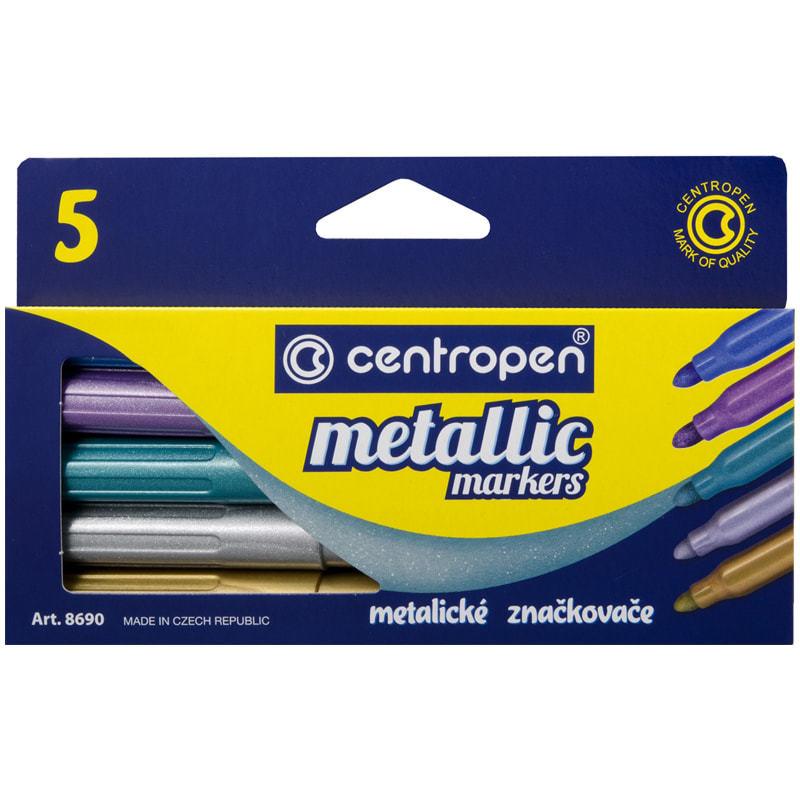 Centropen Metallic набор маркеров для скетчинга и декора с эффектом металлик пуля 2 мм - 5 цветов