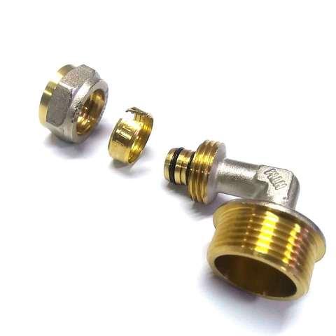 Угол обжимной для металлопластиковых труб 16х3/4 наружная резьба Valve