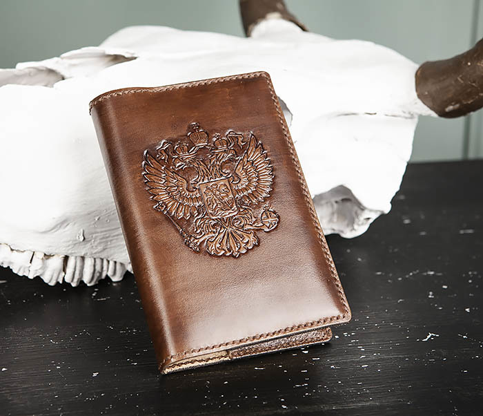 BC213-2 Кожаный ежедневник с гербом России (A6) фото 04