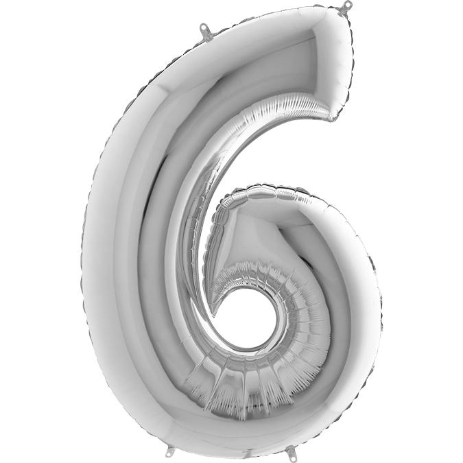 Серебряная цифра 6