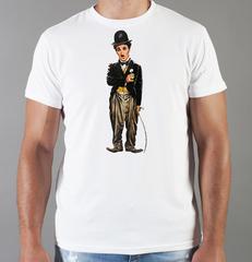 Футболка с принтом Чарли Чаплин (Charlie Chaplin) белая 006