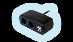 Разветвитель Neoline SL-221 на 2 гнезда и 2 USB c кабелем