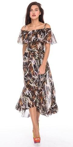 Фото нарядное платье в пол с расклешенной юбкой и воланами - Платье З184-146 (1)