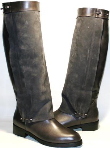 Сапоги зимние женские кожаные на низком каблуке европейки Richesse-LN коричнево серые