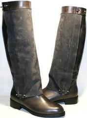 Кожаные сапоги женские на низком каблуке европейки.