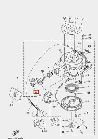 Заглушка ручки стартера для лодочного мотора F20 Sea-PRO (10-17)
