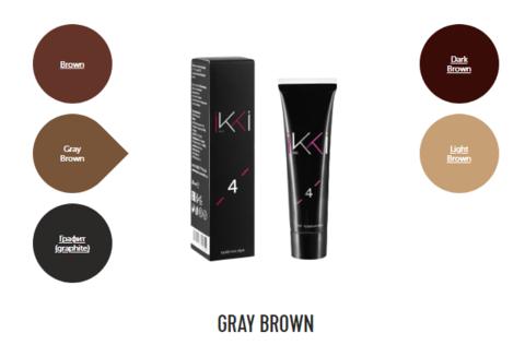 Гель-краска для бровей IKKI в тубе (№4 серо-коричневый) 15мл