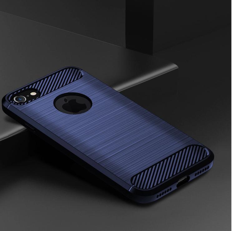 Чехол iPhone 7 (iPhone 8) цвет Blue (синий), серия Carbon, Caseport