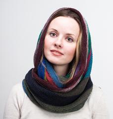 Женский шарф снуд полосатый