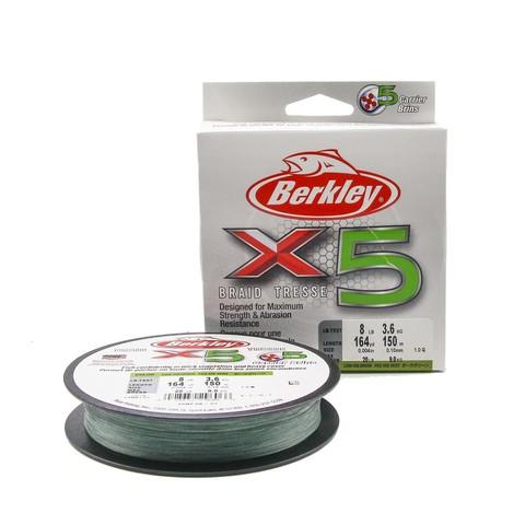 Плетеная леска Berkley X5 150м Темно-зеленая 0,10мм 3,6кг