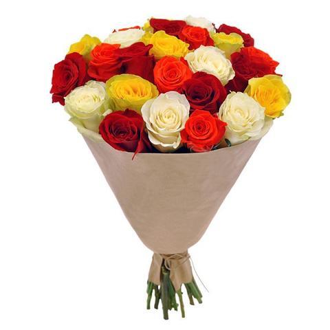 Букет из 25 роз цветных