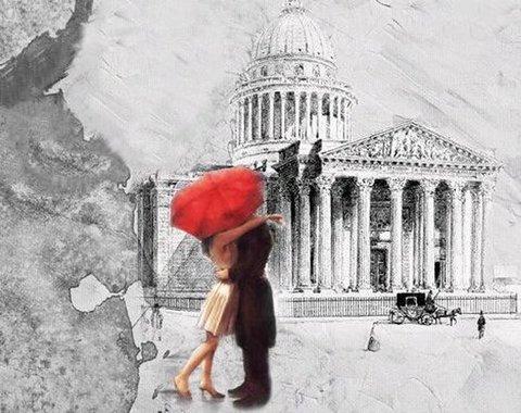 Алмазная Мозаика 30x40 Поцелуй за красным зонтом