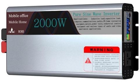 Инвертор 12-220V YURNIX Юрникс 2000W чистый синус 12 вольт на 220вольт 2000 Ват преобразователь напряжения