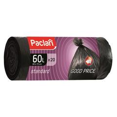Мешки для мусора на 60 л Paclan черные (ПНД, 7.4 мкм, в рулоне 20 шт, 60х70 см)