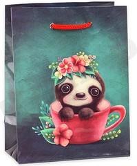 Пакет подарочный с глянцевой ламинацией 22х31х10 cм (ML) Милый ленивец. 128 г