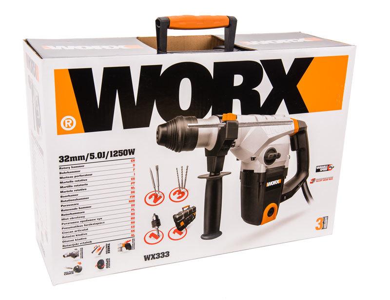 Перфоратор WORX WX333, SDS-Plus, 5Дж, 1250Вт