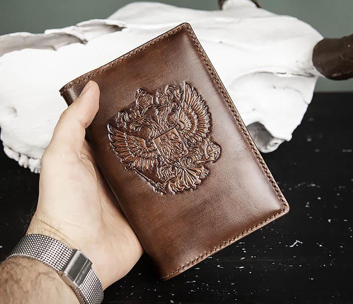 BC213-2 Кожаный ежедневник с гербом России (A6) фото 07